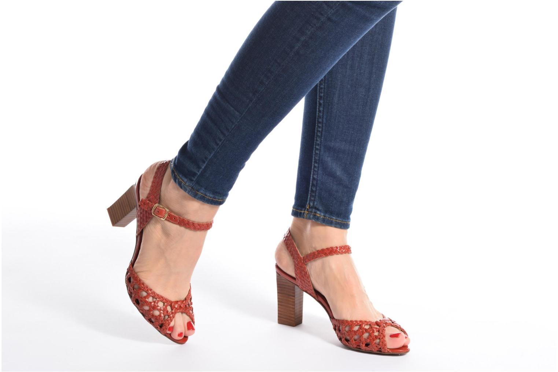 Sandales et nu-pieds Heyraud EGLANTINE Rouge vue bas / vue portée sac