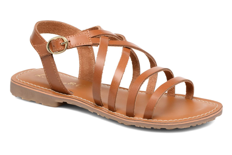 Sandales et nu-pieds L'Atelier Tropézien Justine Marron vue détail/paire