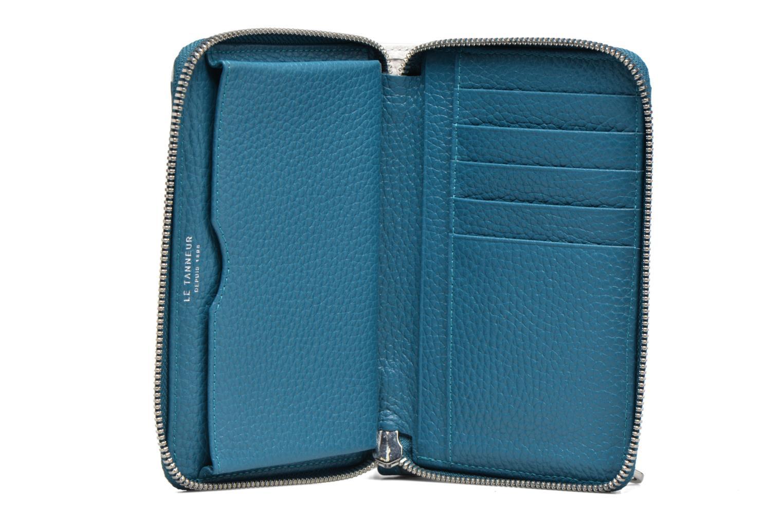 Petite Maroquinerie Le Tanneur AGATHE Porte-monnaie zippé téléphone Bleu vue derrière