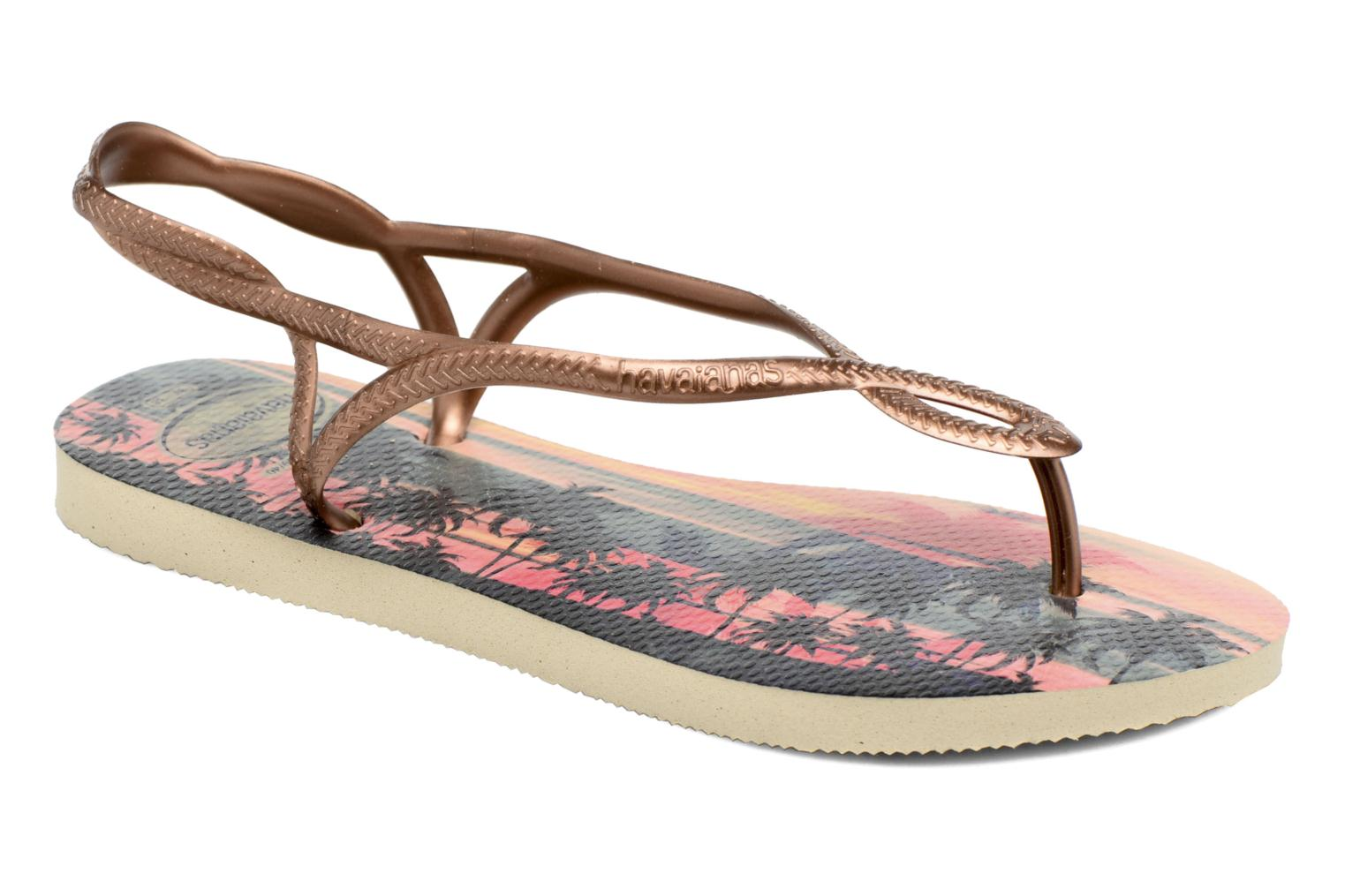 Sandals Havaianas Luna Print Bronze and Gold detailed view/ Pair view