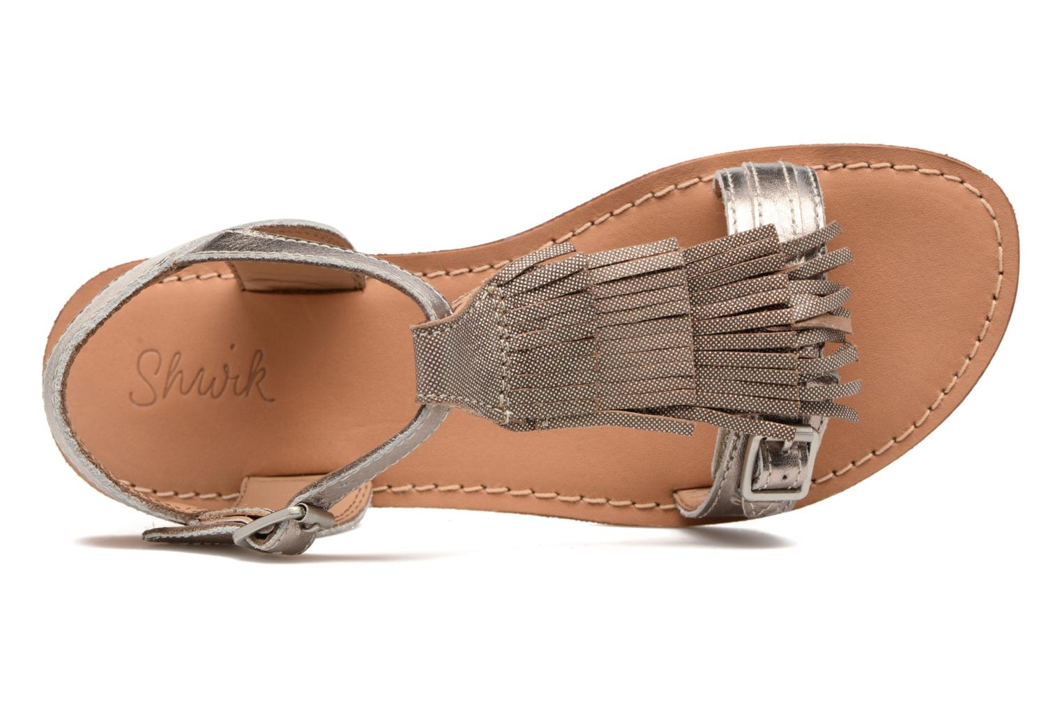 Sandals Shwik Lazar Bi Fringe Bronze and Gold view from the left