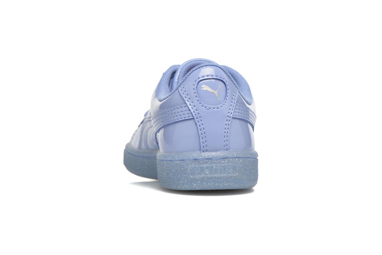 Baskets Puma Basket Patent Iced Glitter Jr Bleu vue droite