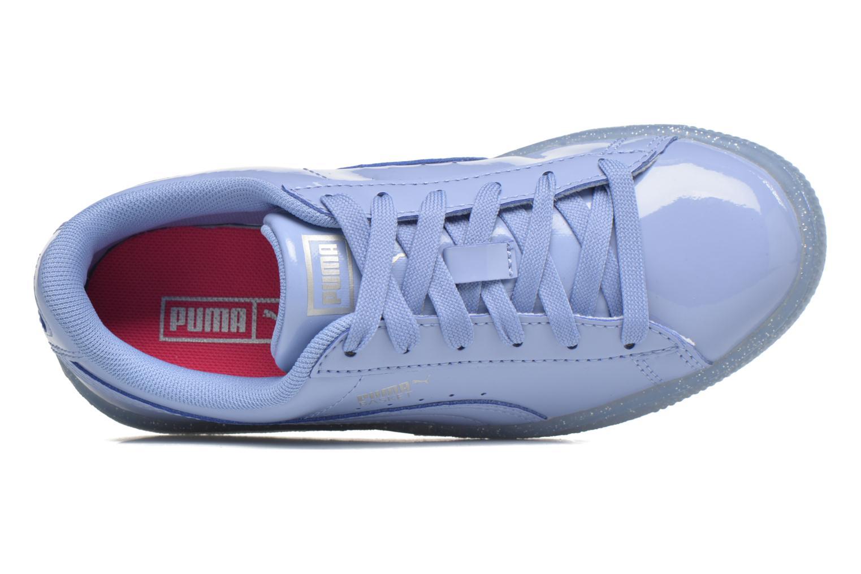Baskets Puma Basket Patent Iced Glitter Jr Bleu vue gauche