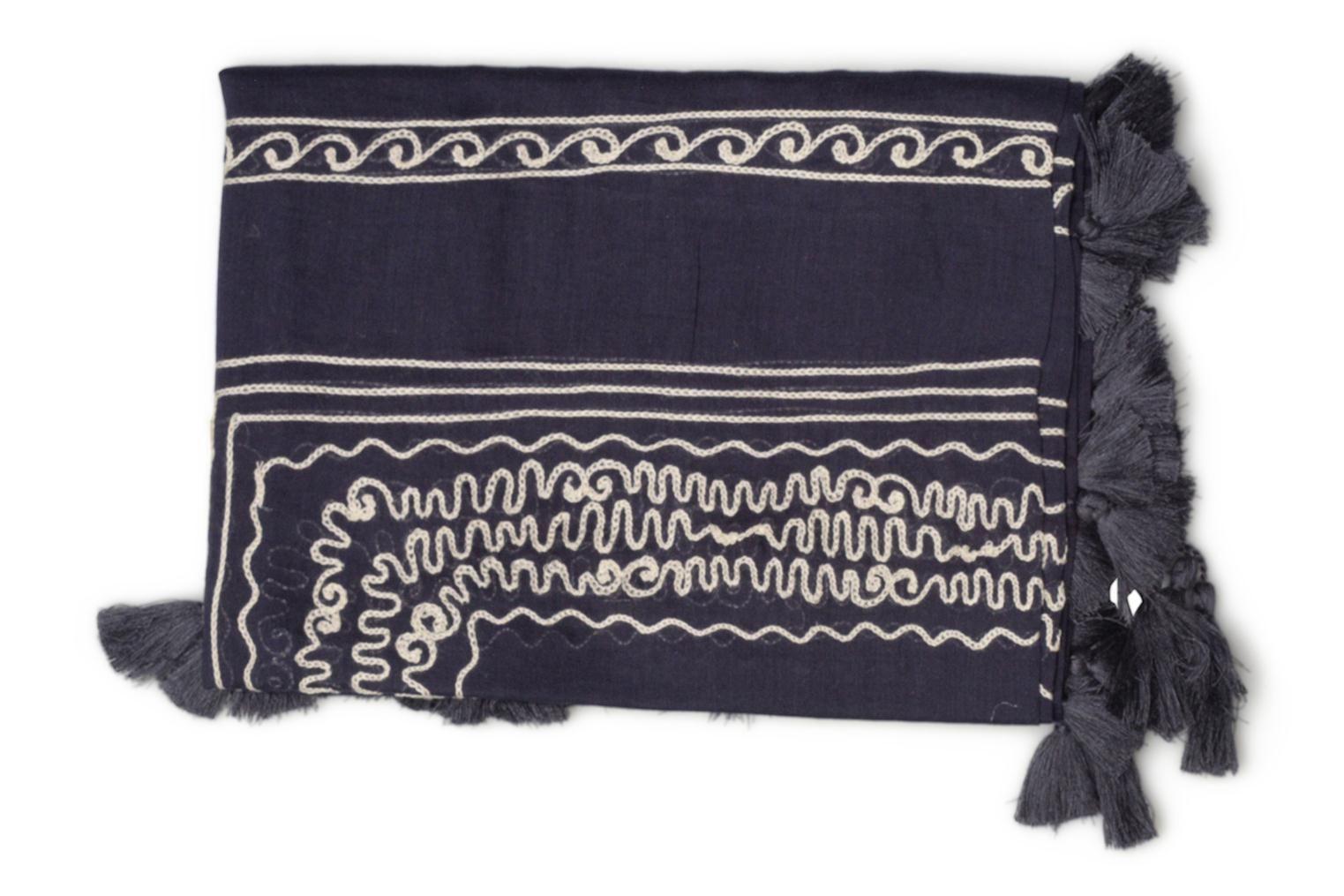 Cotton embroidery scarf 102x102 Navy