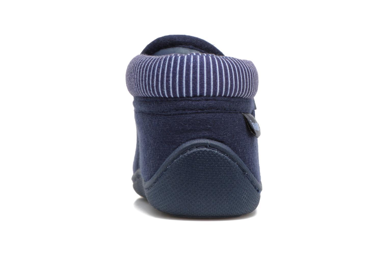 Chaussons Isotoner Bottilon Zip Jersey Suédine Bleu vue droite