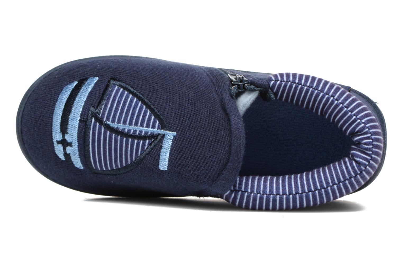 Chaussons Isotoner Bottilon Zip Jersey Suédine Bleu vue gauche