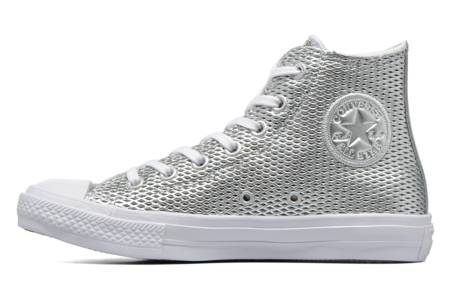 Baskets Converse Chuck Taylor All Star II Hi Perf Metallic Leather Argent vue face