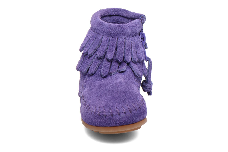 Bottines et boots Minnetonka Double Fringe side zip boot B Violet vue portées chaussures