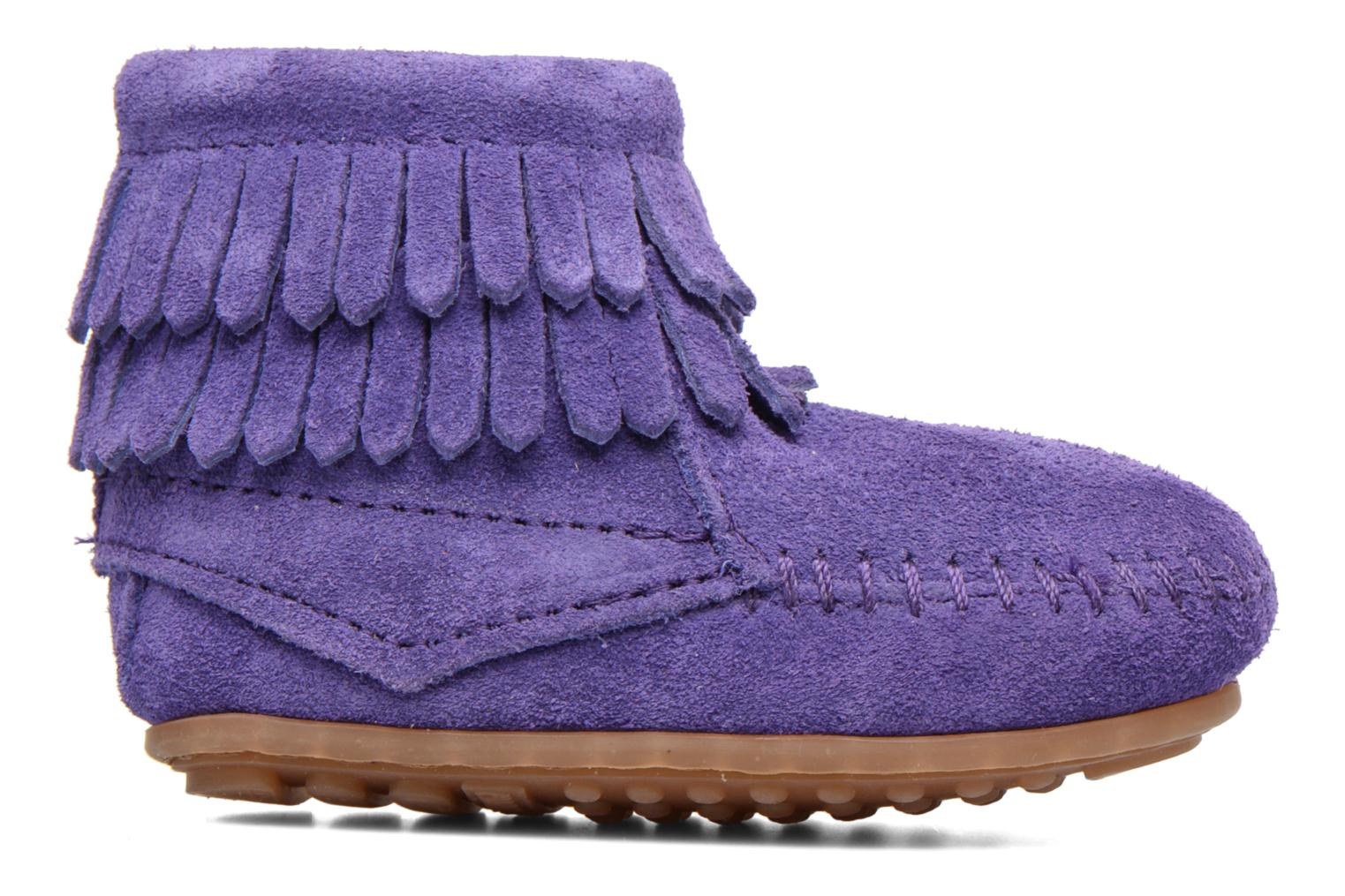 Double Fringe side zip boot B Purple Suede