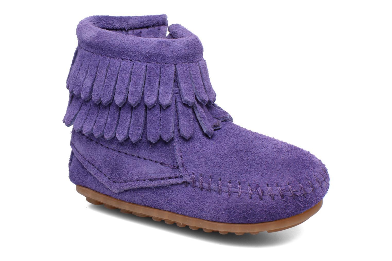 Double Fringe side zip boot B Purple Suede