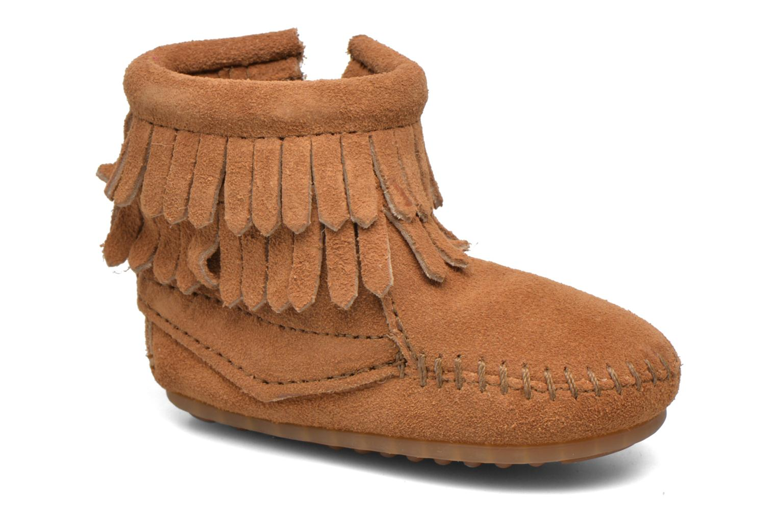 Double Fringe side zip boot B Taupe Suede