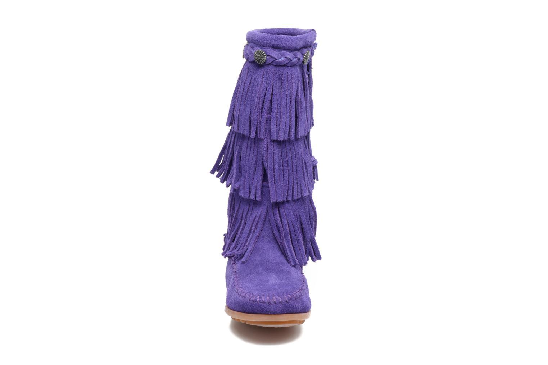 Bottes Minnetonka 3-Layer Fringe Boot E Violet vue portées chaussures