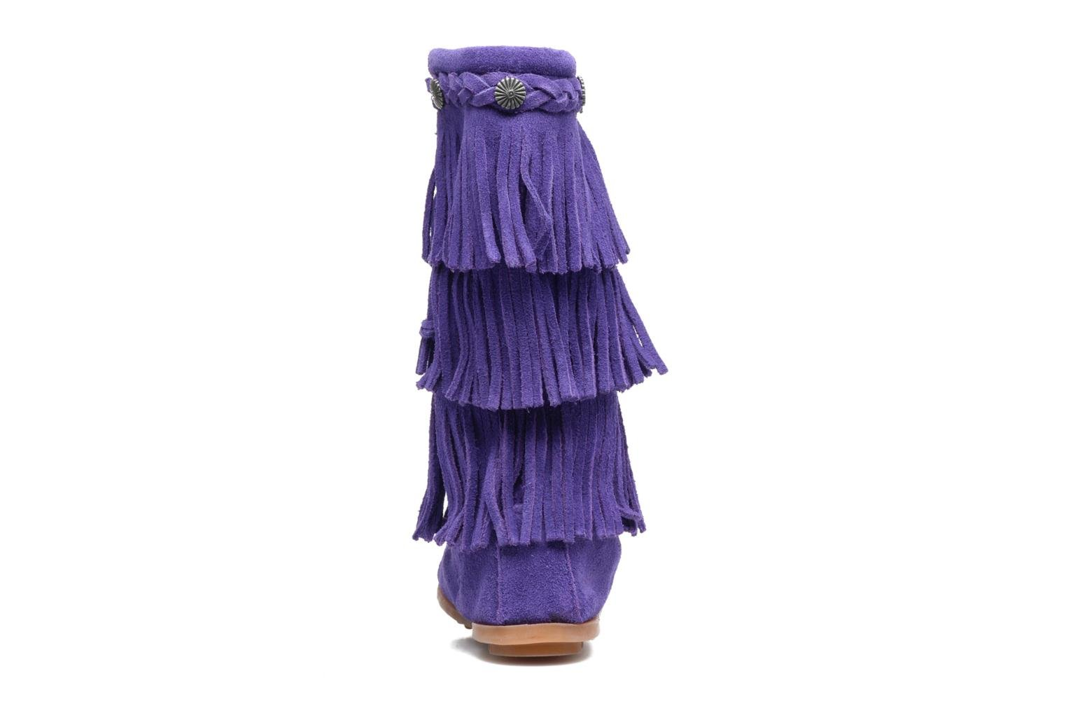 3-Layer Fringe Boot E Purple Suede