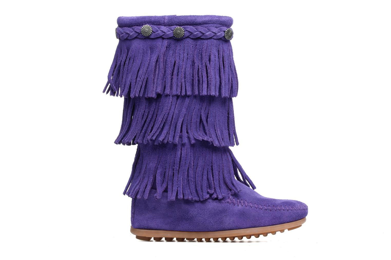 Bottes Minnetonka 3-Layer Fringe Boot E Violet vue derrière