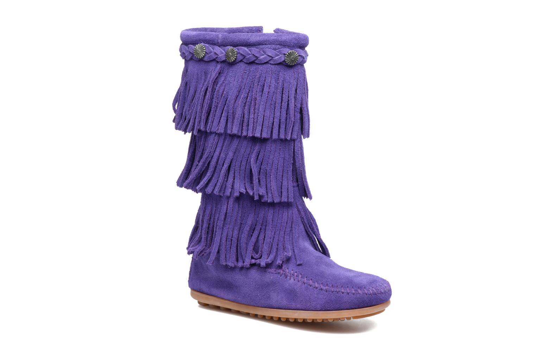 Bottes Minnetonka 3-Layer Fringe Boot E Violet vue détail/paire