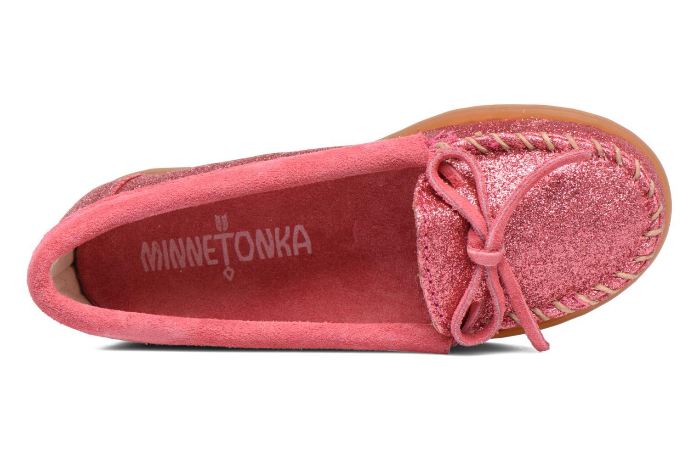 Mocassins Minnetonka Glitter Moc Rose vue gauche