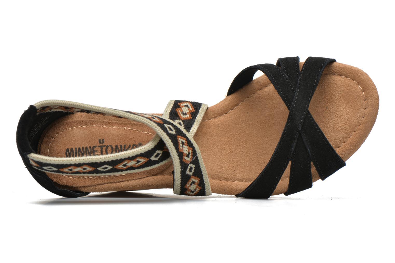 Sandali e scarpe aperte Minnetonka Drew Wedge Nero immagine sinistra