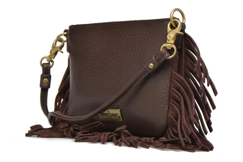 Mini Fringe Crossbody Bag Choco Suede