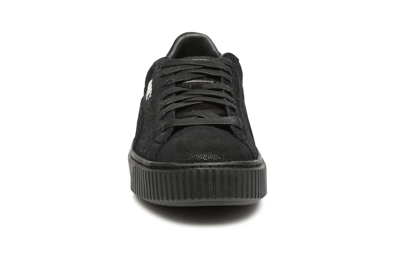 Sneaker Puma Wns Basket Platform Reset schwarz schuhe getragen