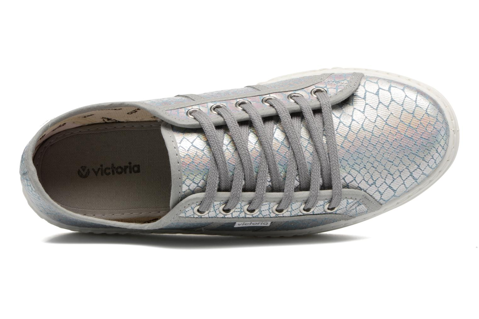 Trainers Victoria Basket Tejano Metalizado Silver view from the left