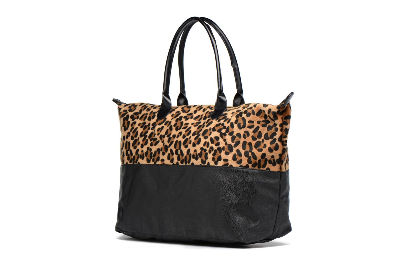 Weekender Bag Leopard/Black canvas tumbled