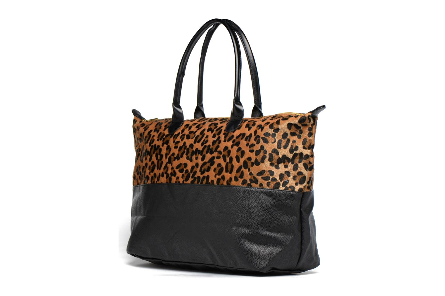 Weekender Bag Leopard/Black canvas tumbled