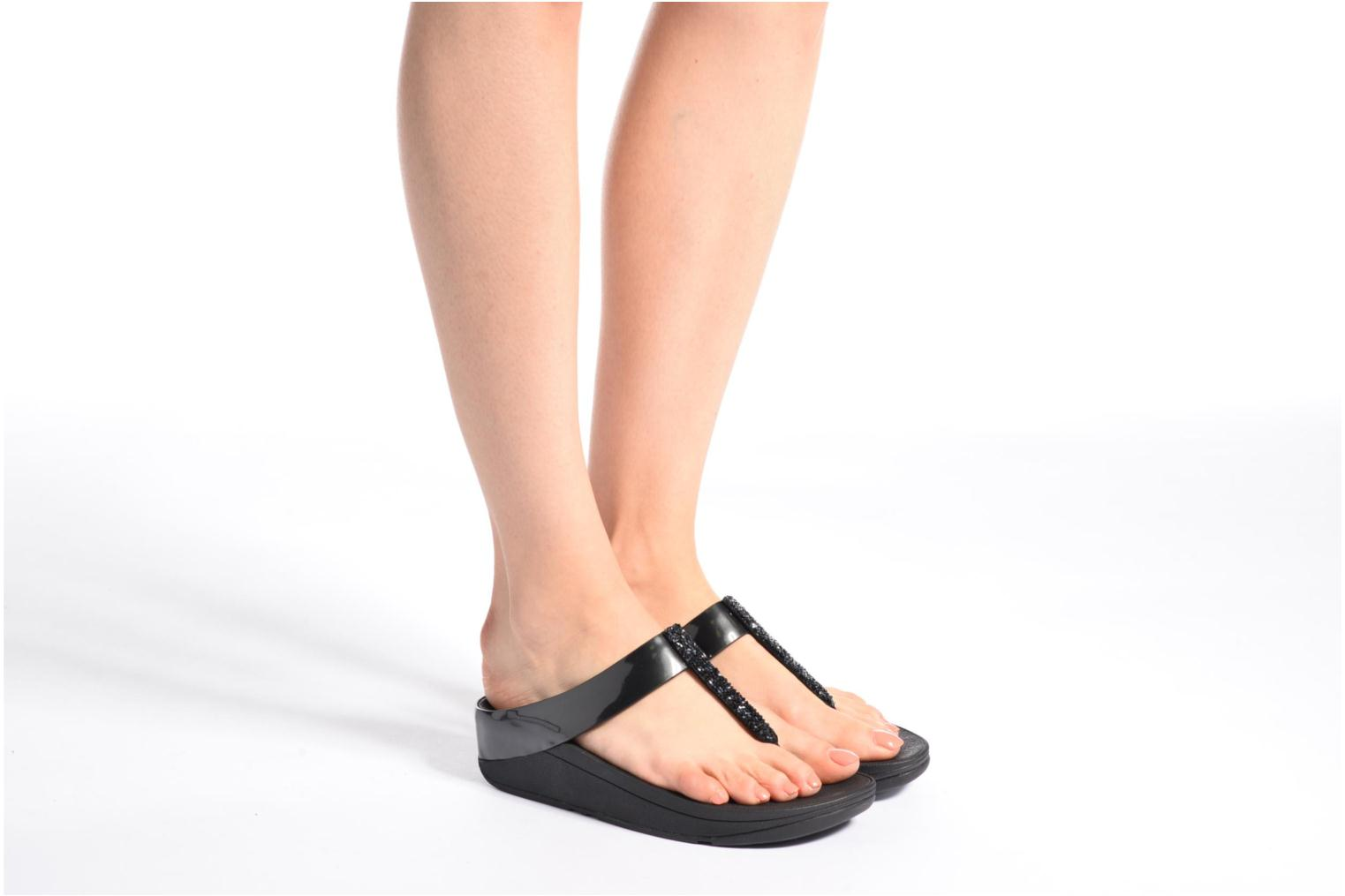 Flip flops FitFlop Fino Toe-Post Black view from underneath / model view