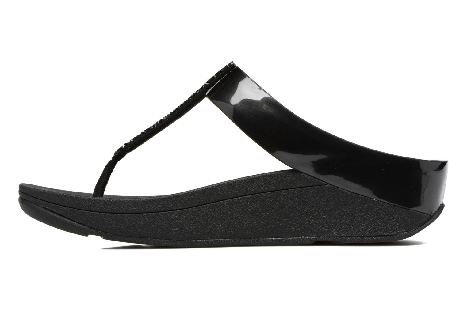 Flip flops FitFlop Fino Toe-Post Black front view