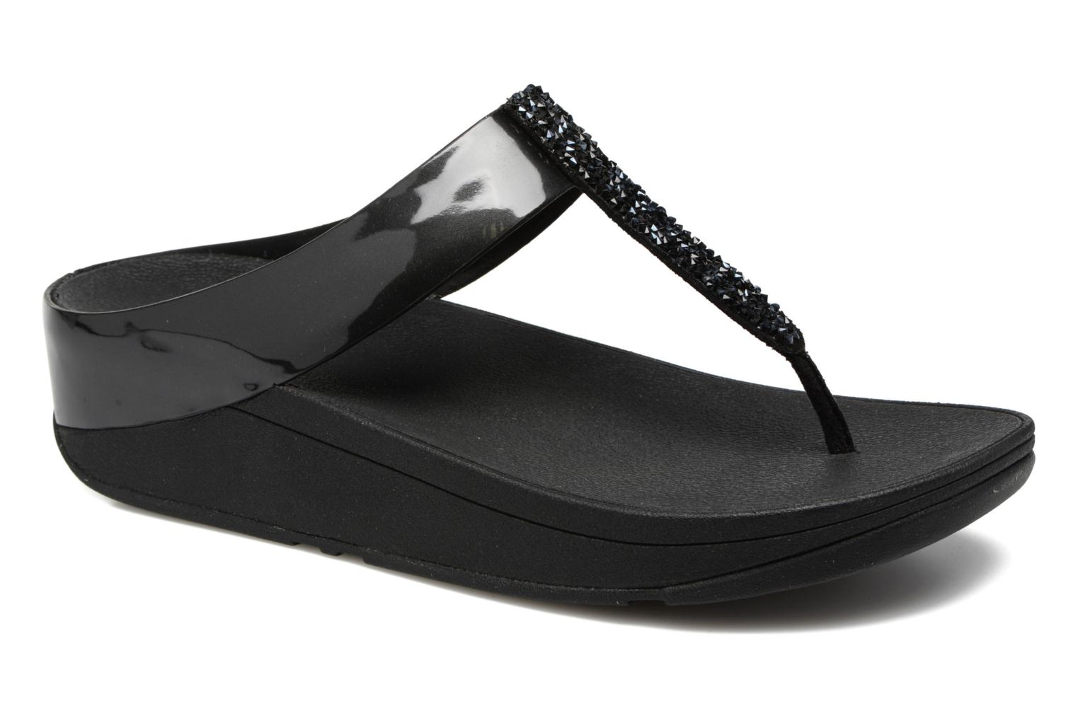 Flip flops FitFlop Fino Toe-Post Black detailed view/ Pair view