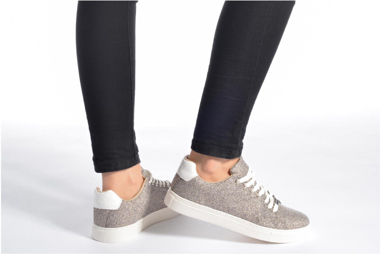 Baskets ONLY Suzy Glitter Sneaker Argent vue bas / vue portée sac