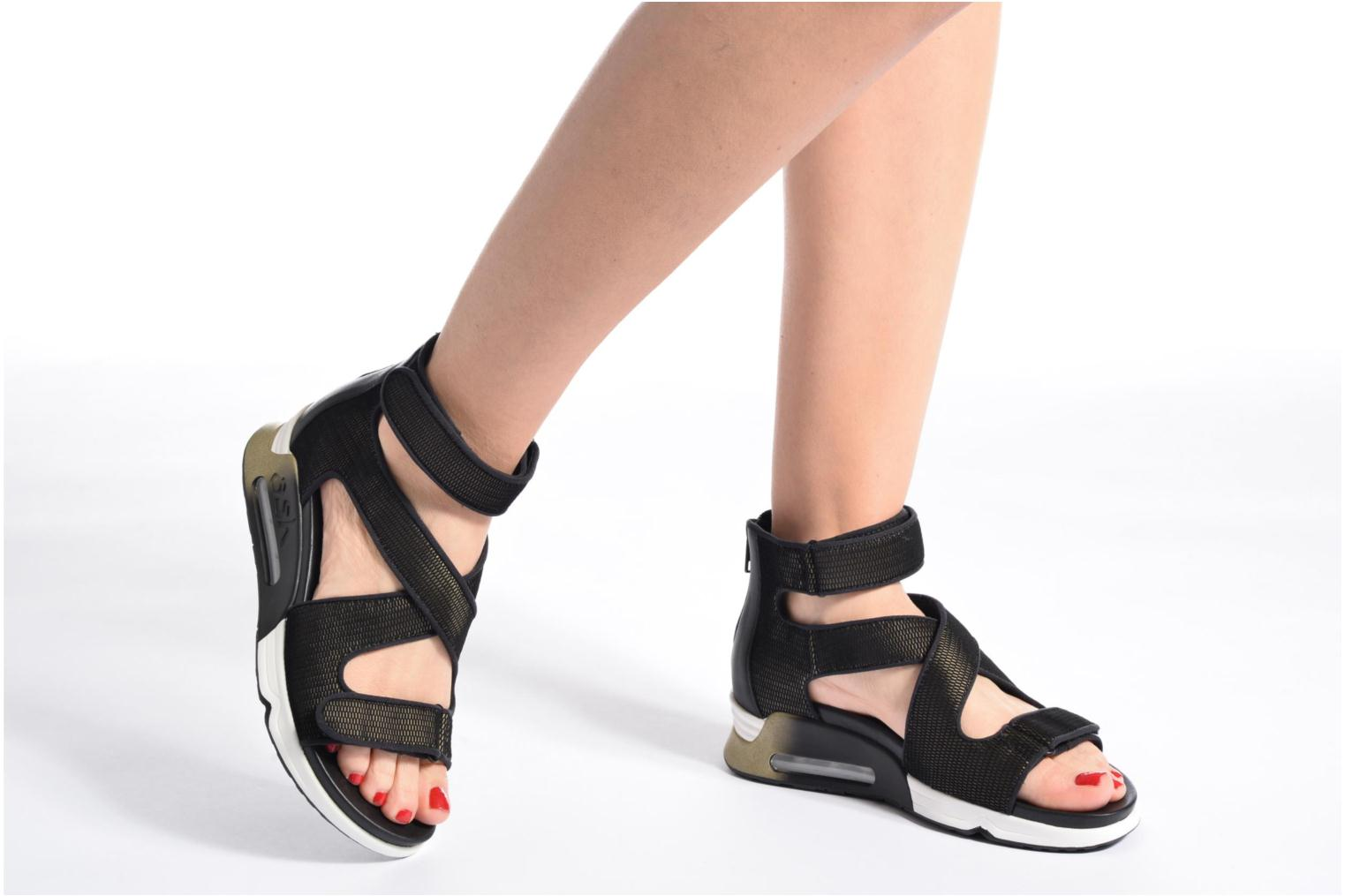 Lips Sandal Combo A Satin Net Black
