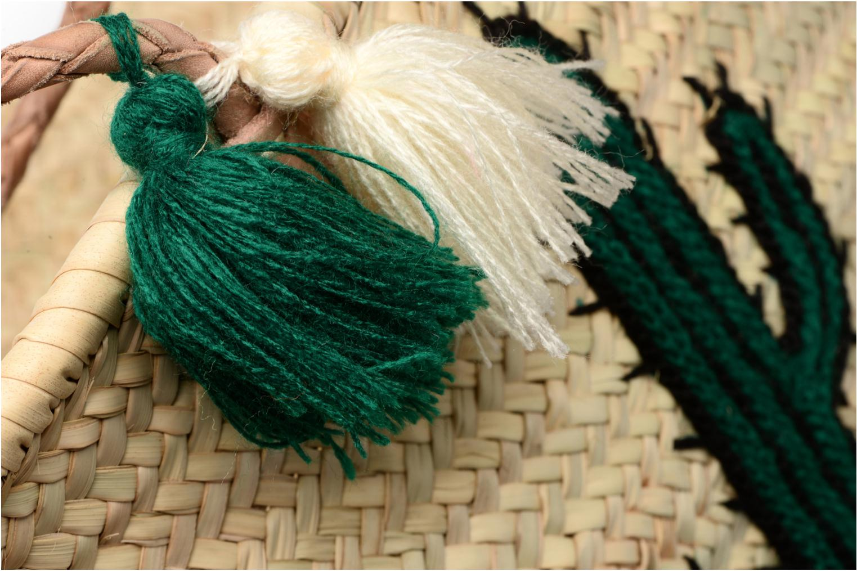 Handbags Etincelles Panier artisanal Cactus Vert Green back view