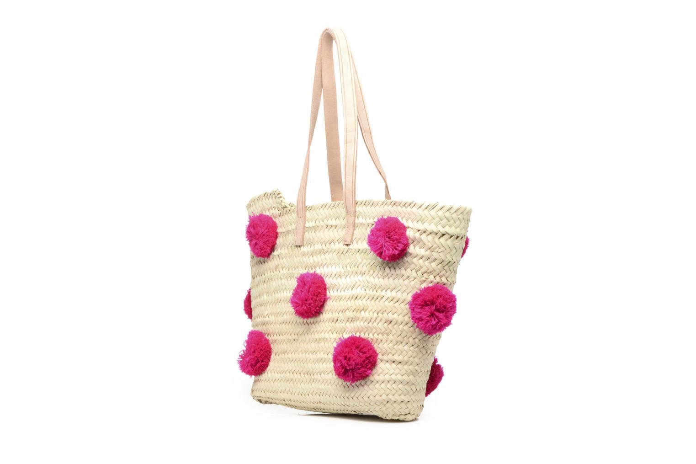Sacs à main Etincelles Panier artisanal Pompom Fuschia Rose vue portées chaussures