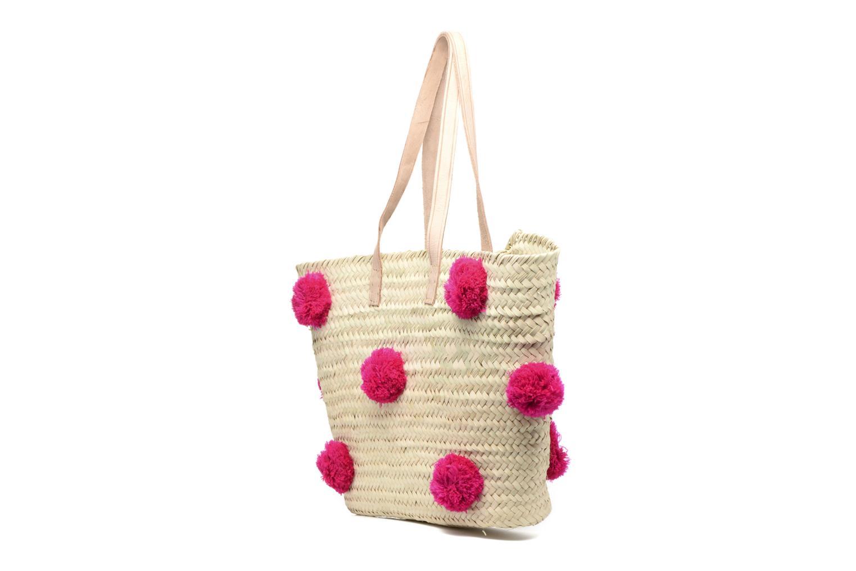 Handtaschen Etincelles Panier artisanal Pompom Fuschia rosa ansicht von rechts
