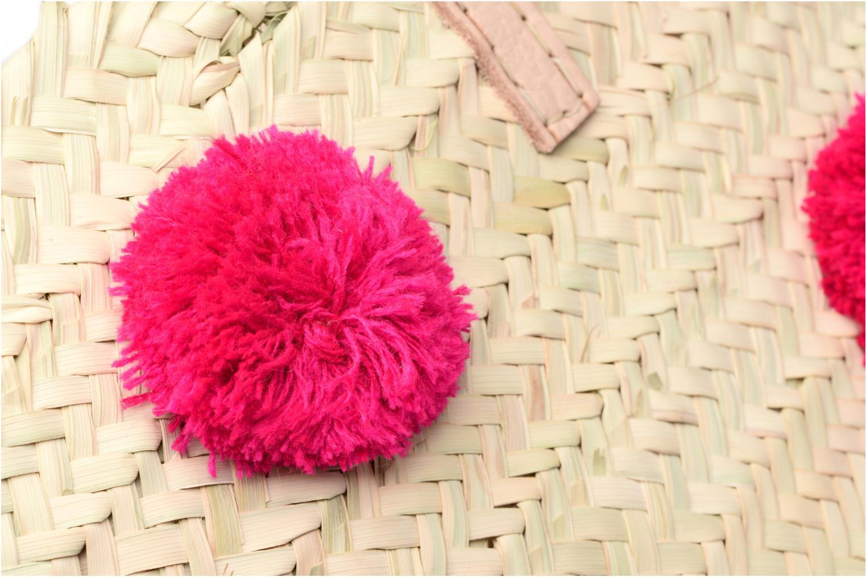 Handtaschen Etincelles Panier artisanal Pompom Fuschia rosa ansicht von links