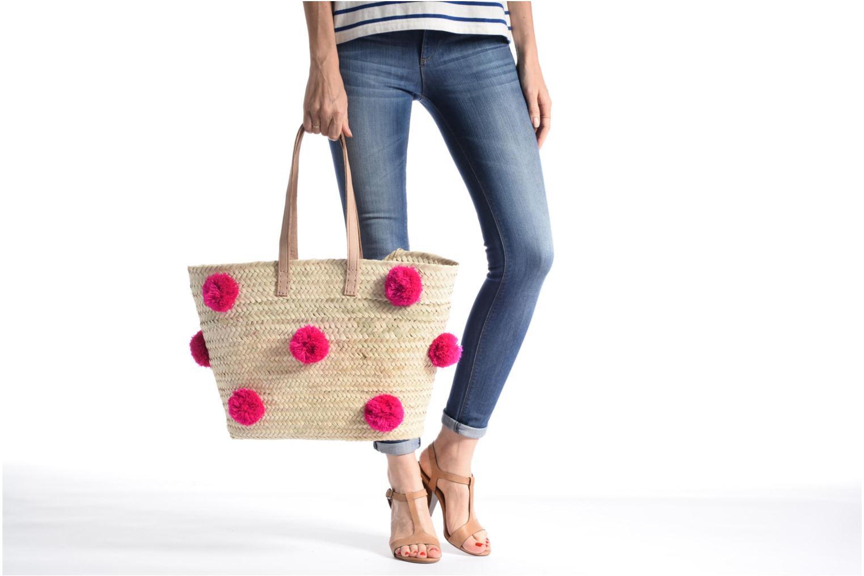 Handtaschen Etincelles Panier artisanal Pompom Fuschia rosa ansicht von oben