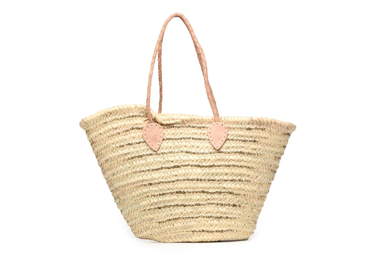 Handbags Etincelles Panier artisanal Rayure Sequin Or Bronze and Gold front view