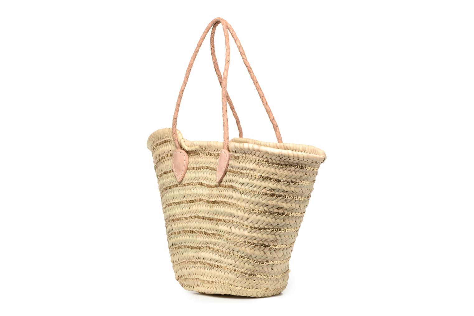 Handbags Etincelles Panier artisanal Rayure Sequin Or Bronze and Gold view from the right