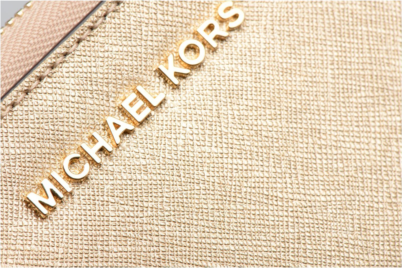 Marroquinería pequeña Michael Michael Kors JET SET LG FLATPHONE CASE Oro y bronce vista lateral izquierda