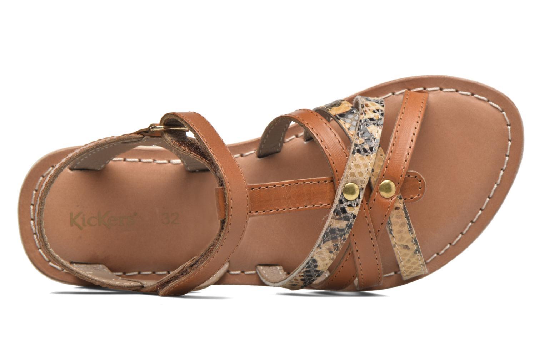 Sandales et nu-pieds Kickers Farah Marron vue gauche