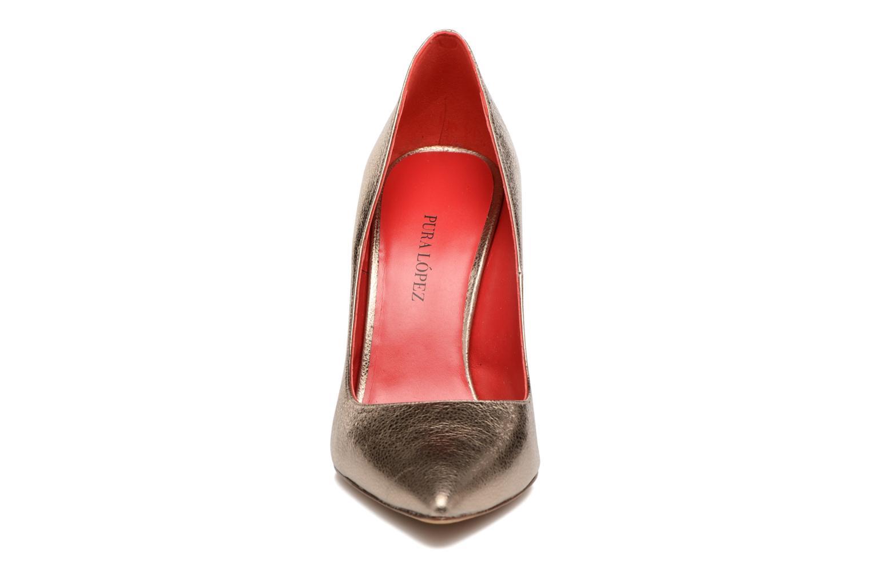 Escarpins Pura Lopez Milena Or et bronze vue portées chaussures