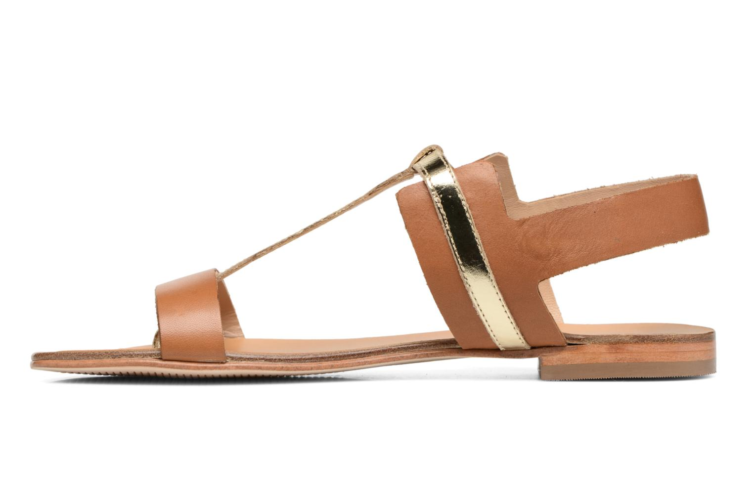 Sandals COSMOPARIS Laya/Cuir Brown front view