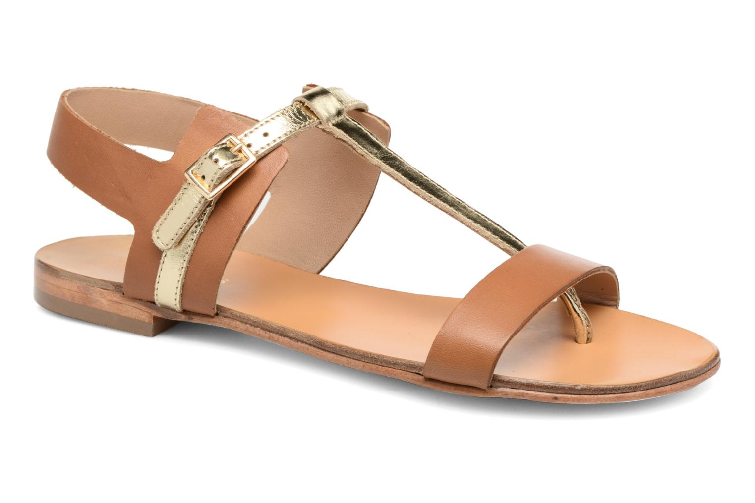 Sandals COSMOPARIS Laya/Cuir Brown detailed view/ Pair view