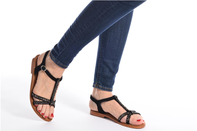 Sandales et nu-pieds L'Atelier Tropézien Mimy Noir vue bas / vue portée sac