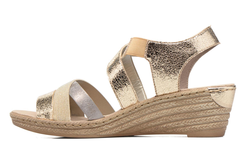 Sandales et nu-pieds Rieker Jara 62438 Or et bronze vue face