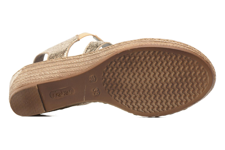 Sandales et nu-pieds Rieker Jara 62438 Or et bronze vue haut