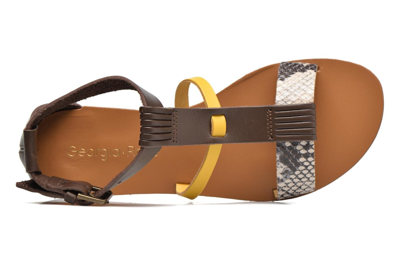 Dolion Cuir marron + jaune + python