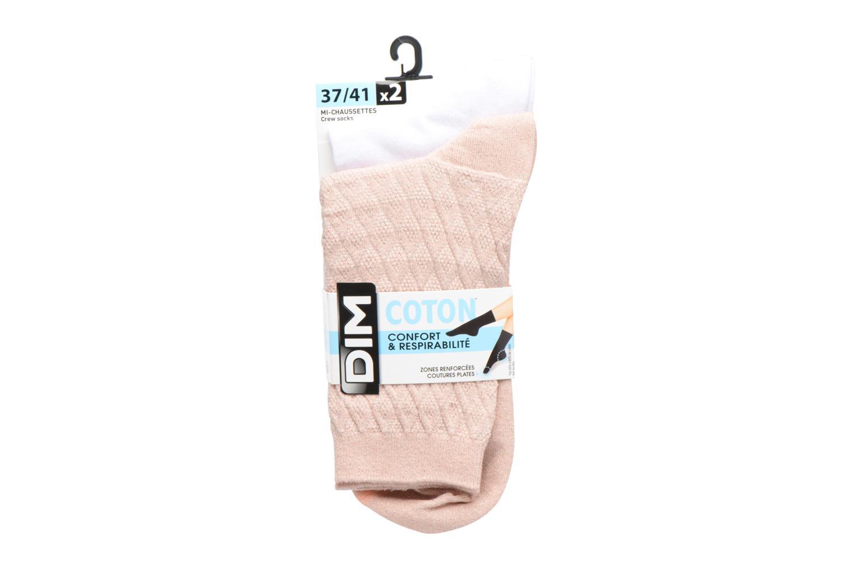 Chaussettes et collants Dim Mi-Chaussette Coton Lurex Lot de 2 Rose vue derrière