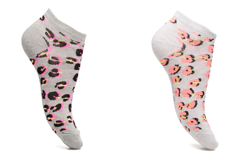 Chaussettes et collants Sarenza Wear Chaussettes invisibles Femme Léopard Pack de 2 Coton Gris vue détail/paire