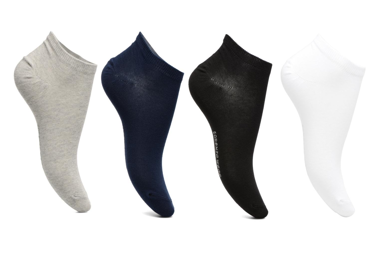 Chaussettes invisibles Femme unies Pack de 4 Coton Noir/blanc/bleu/gris